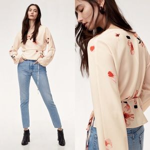 Aritzia Wilfred Lilia Blouse in Nude Black Floral